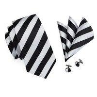 SN-276 White Black Striped Silk Tie Set Handkerchief Cufflinks Sets Men's 100% Silk Ties for Men Formal Wedding Party Groom Tie 2