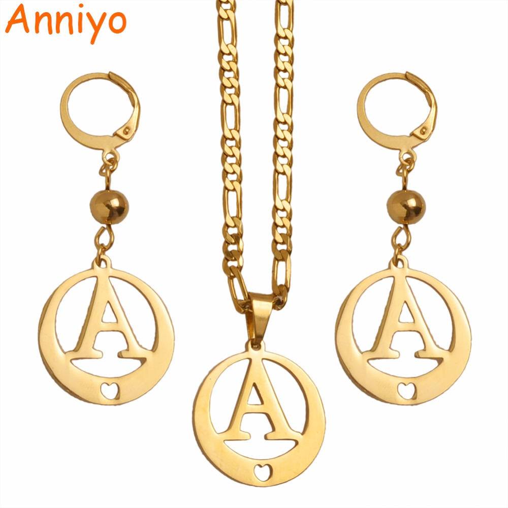 613e30183 Anniyo (A to Z) Gold Color Alphabet Necklace/Earrings Initial for Women/Girls,Bead  Letter Pendant English Letter Jewelry ...