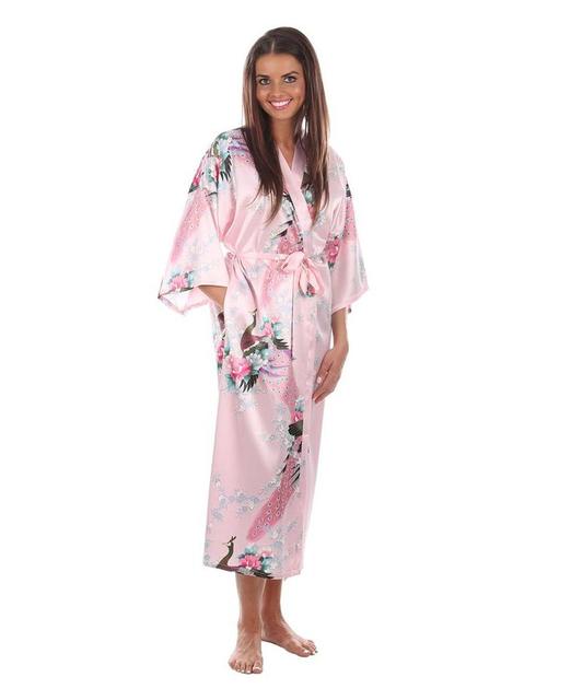Pink boda dama de honor larga de seda Robes mujer camisón de verano lencería Sexy ropa de dormir Kimono de baño vestido más el tamaño S-XXXL A-042