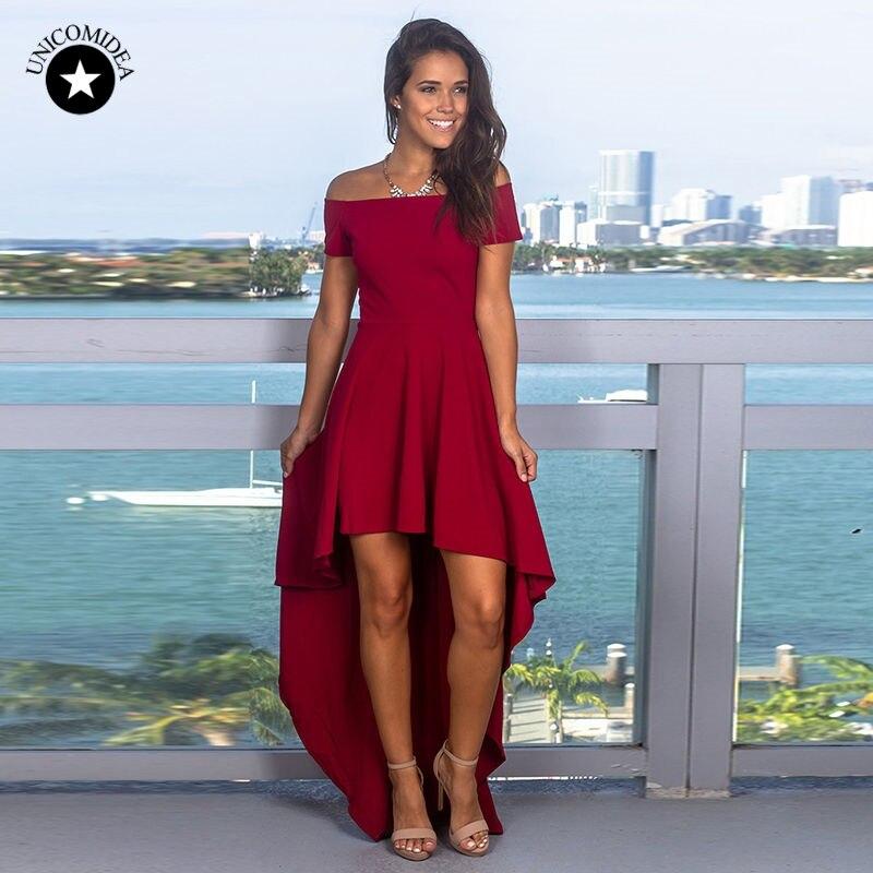 Летнее женское платье с открытыми плечами красное винтажное необычное однотонное вечернее платье женская сексуальная одежда пляжные плат...