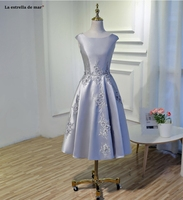 Robe demoiselle d'honneur 2019 new Scoop neck satin flower A line pink silver light blue blue green bridesmaid dresses plus size