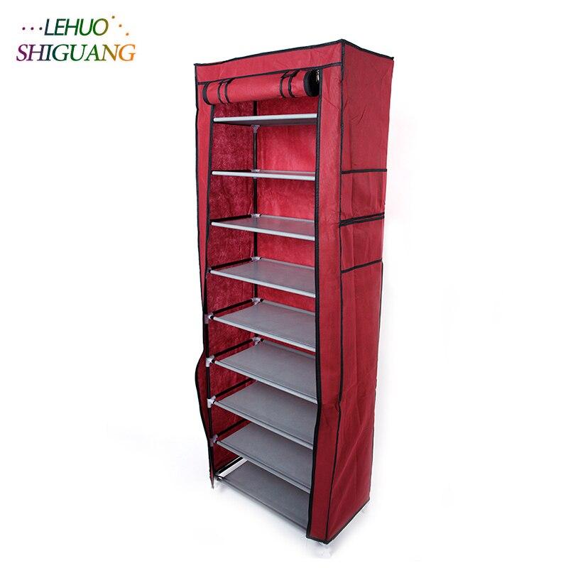 Single row 9 grid Shoe cabinet Non woven fabric organizer storage cabinet Assembly shelf Shoe rack home living room Furnitu