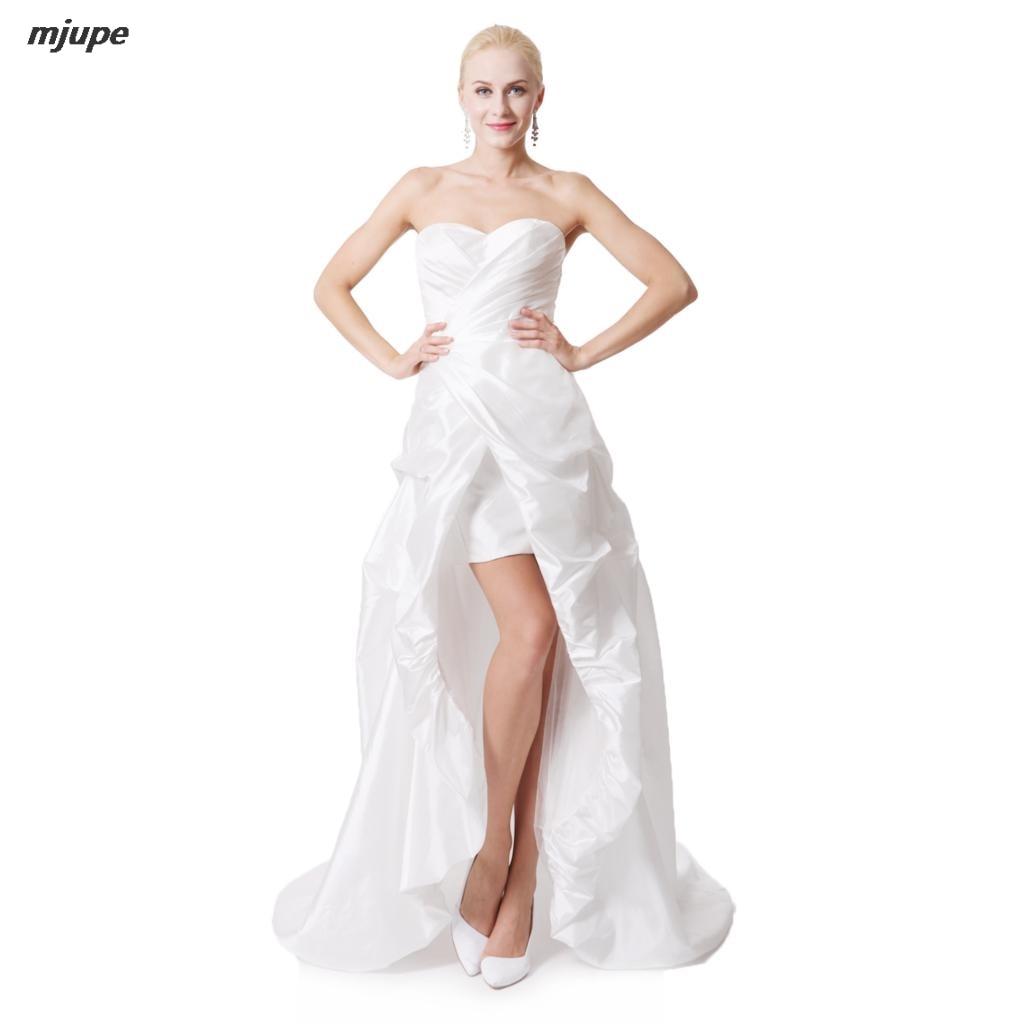 2017 fashinable short front with trailing wedding dress plus size sleeveless zipper ivory white strapless bras wedding dress