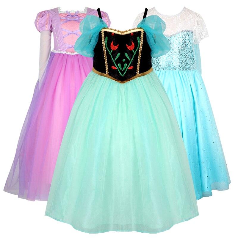 Original Princess Snow White Cinderella Dresses Costumes: Anna Elsa Cosplay Costume Snow White Summer Dresses Girl