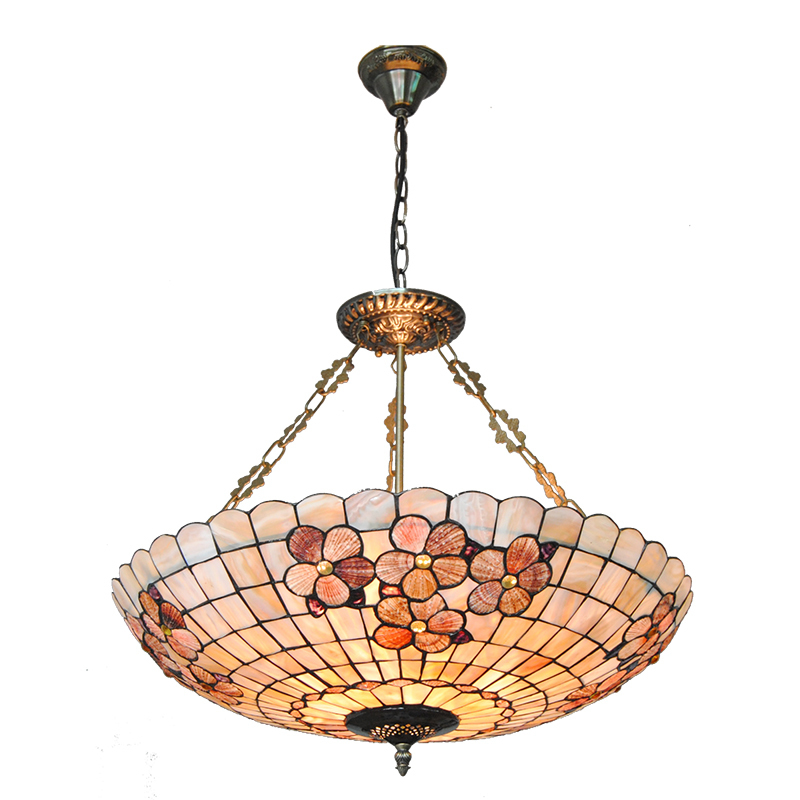 Retro Baroque Style Stained Glass Inverted Hanging Light Vintage Aisle Restaurant Living Room Chandelier Lighting Fixtures PL761 16 retro european style tiffany stained glass inverted pendant lamp vintage hanging light kitchen dining room fixtures pl802