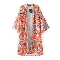 2017 Zomer Bloemen Animal Gedrukt Blouse Shirt Losse Casual Lange Kimono Vrouwen Lange Vest Strand Elegante Mouwen Blouse Blusas