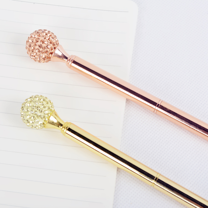 Luxury Black Ink Handmade Signature Pen Retro Diamond Electroplated Metal Pen With Pen Box for Gift Gold Gold Ballpen