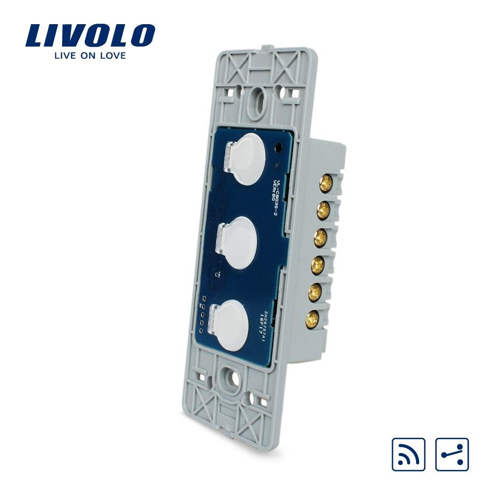 Livolo NOUS standard De Mur Lumière Écran Tactile Interrupteur À Distance, AC 110 ~ 250 V, 3Gang 2Way, Sans panneau de verre, VL-C503SR