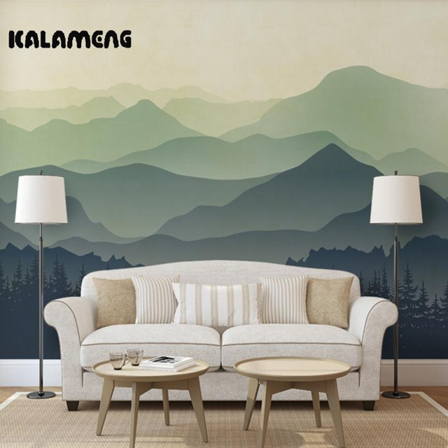 XCHELDA Custom 3D Wallpaper Design Hand Painted Mountain Photo