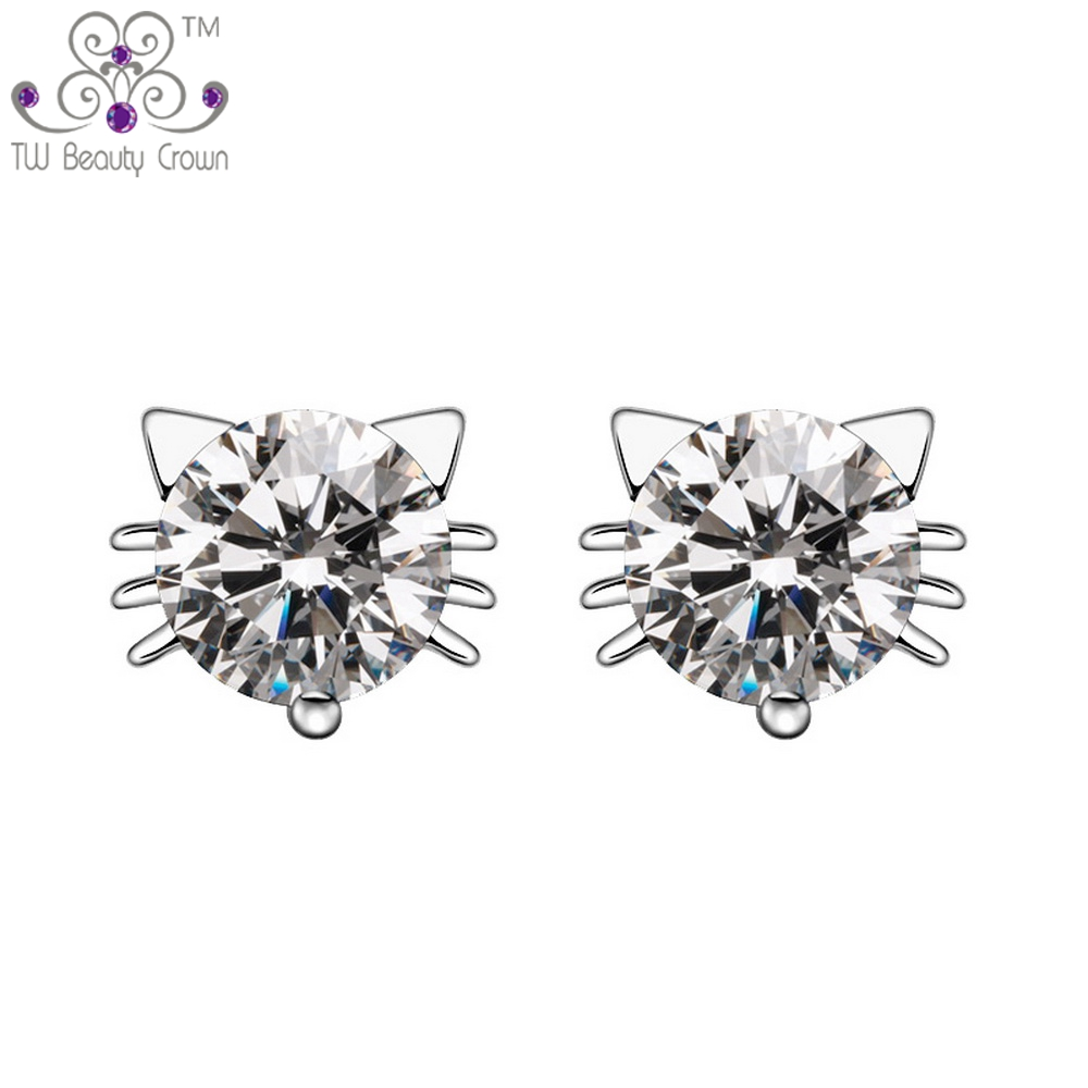 019f06d9f Real 925 Silver AAA+ Austrian Crystal CZ Lovely Hello Kitty Stud Earrings  For Women Young Lady girls Wedding&Engagement Jewelry-in Stud Earrings from  ...