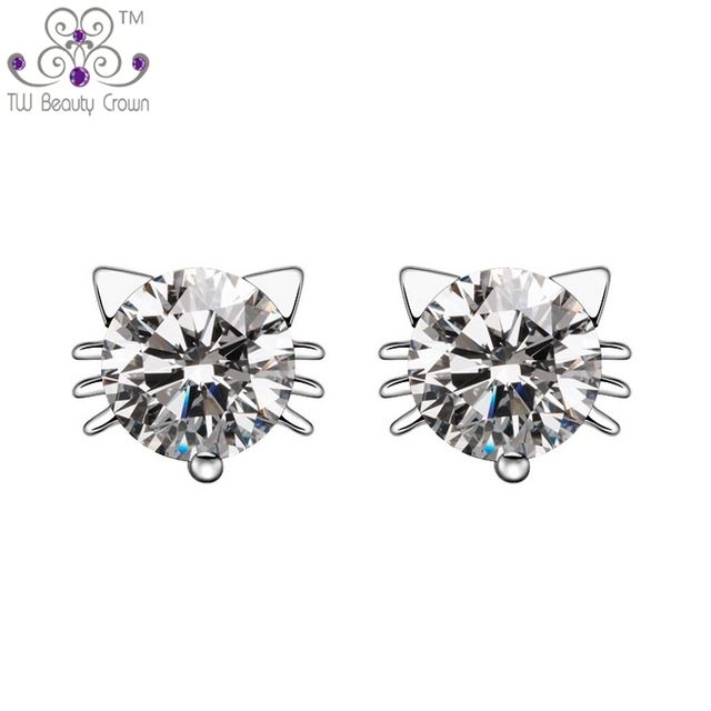 dd6653543 Real 925 Silver AAA+ Austrian Crystal CZ Lovely Hello Kitty Stud Earrings  For Women Young Lady girls Wedding&Engagement Jewelry