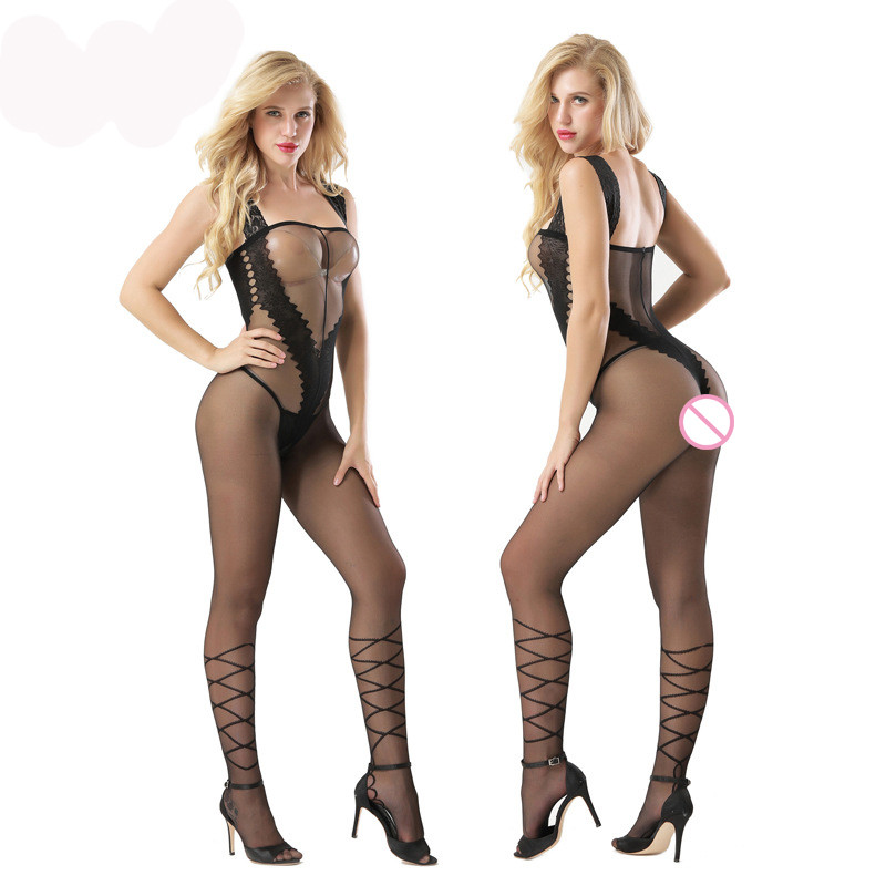 Hot Plus Size Women Bodysuit Sexy Lingerie Black Transparent Spandex Bod Stocking Open Crotch Erotic Sexy Lingerie Costume