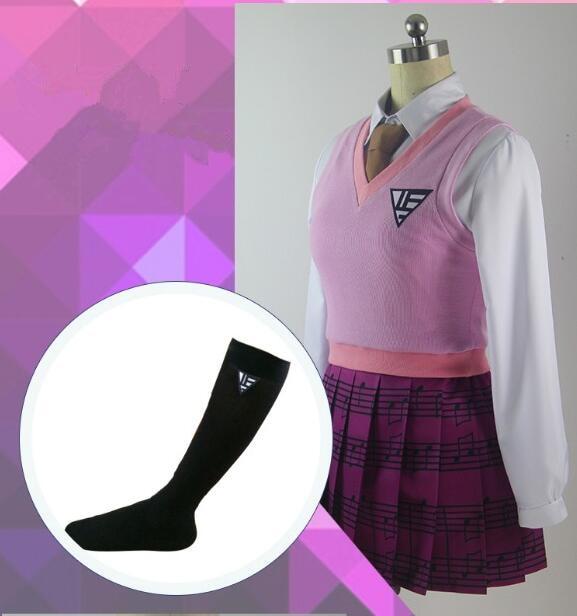 Danganronpa Akamatsu kaede Cosplay Costume Purple pleated Skirt Women Dress