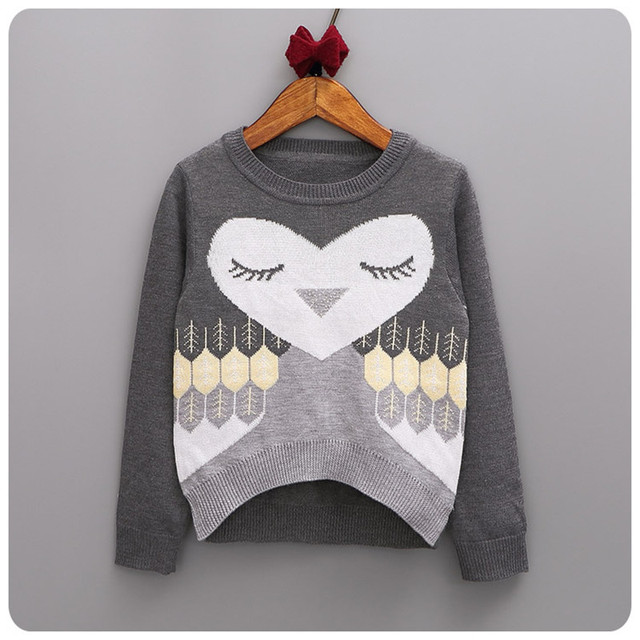 New winter children sweaters owl pattern O-neck toddler girls sweater knitwear pullovers kids clothes casual child tops