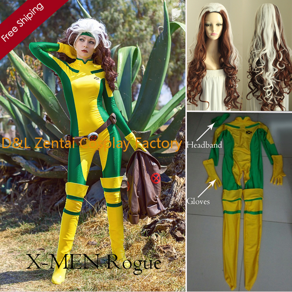 2014 Halloween Costume, X-Men Rogue Cosplay Costume, Yellow And Green Lycra Spandex Catsuit Superhero Costume For Women With Wig Платье