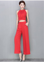 Summer 2016 Women's Set Halter Crop Top + Wide Leg Pants Ankle-length Zipper Fly 2 Pieces Set Women Set S6613