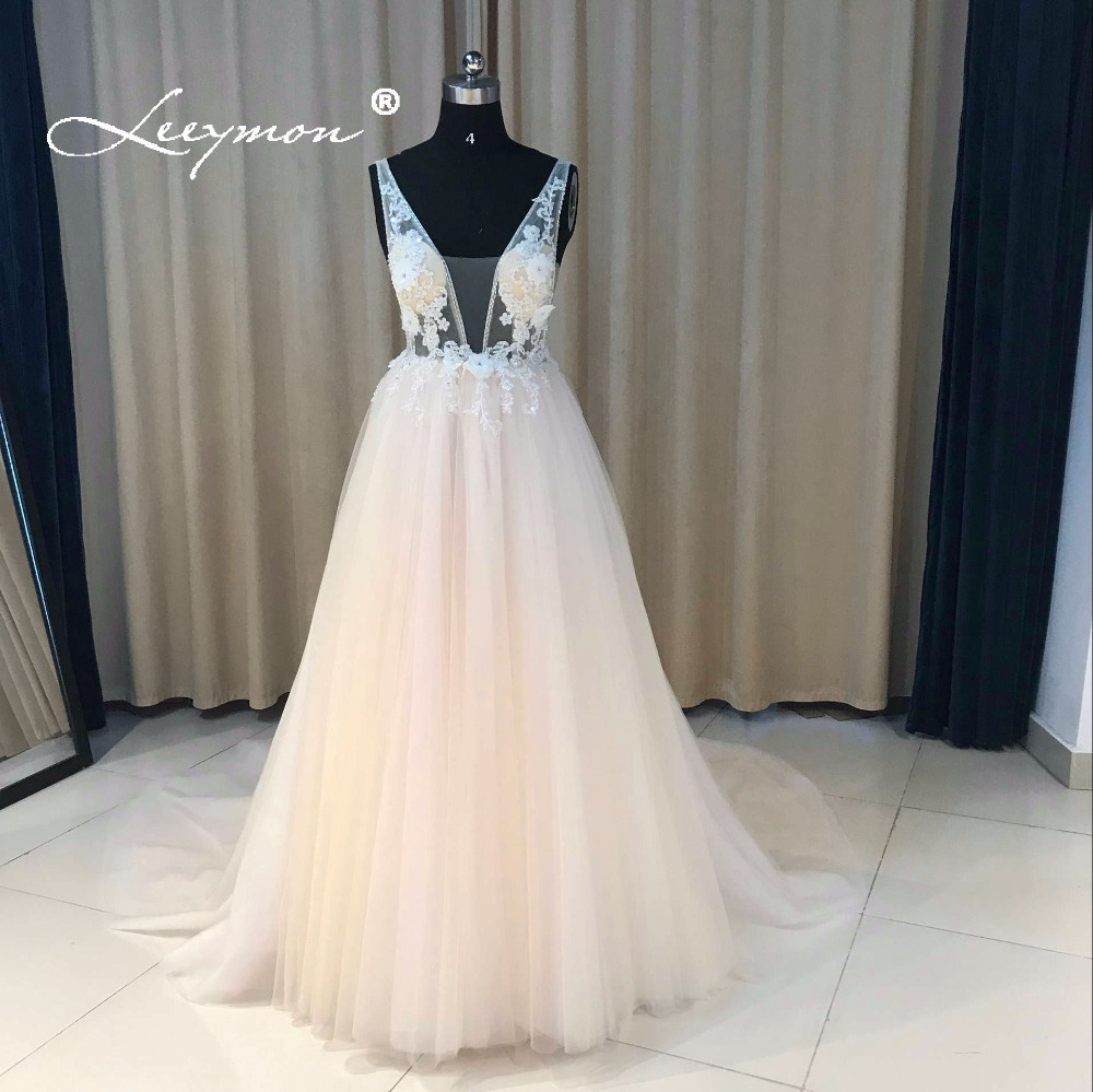 Leeymon Custom Made V Neck Boho Wedding Dress Princess Beach Bridal Dress Sexy Backless Robe De Mariee