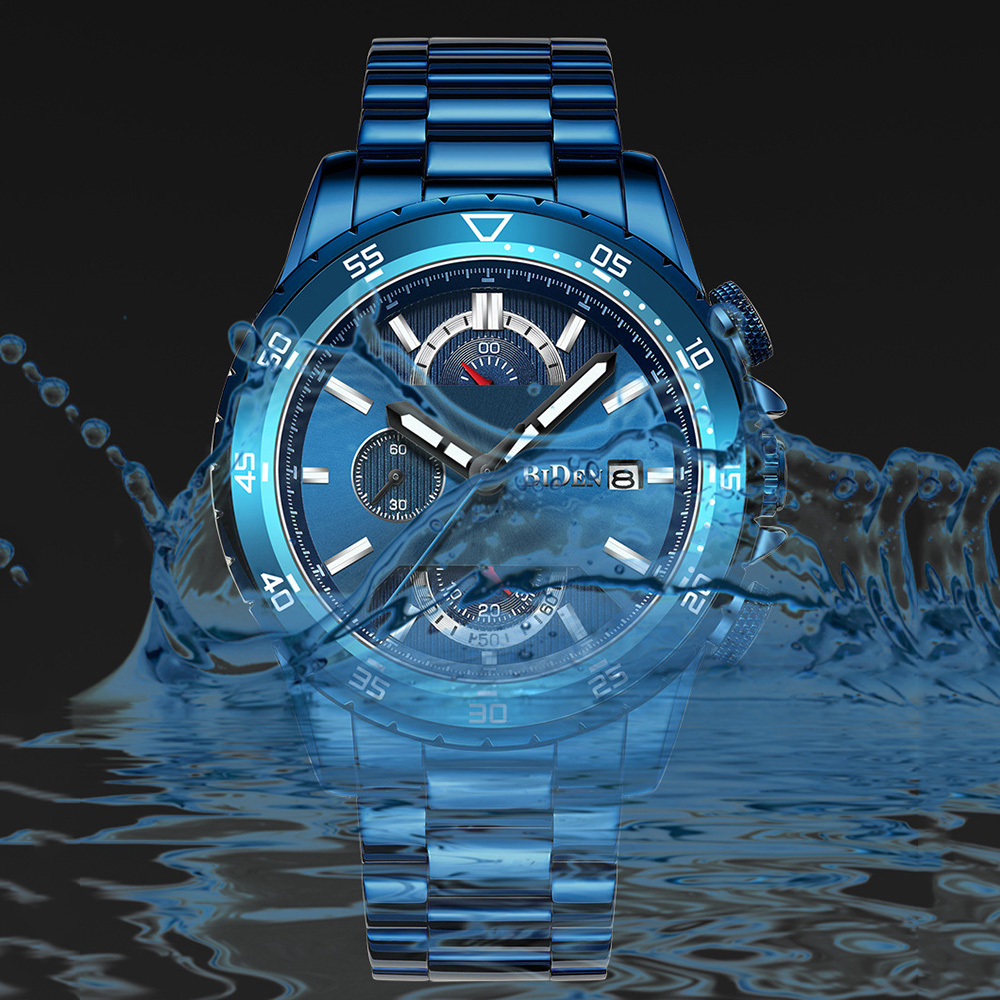 Fashion Blue Watch Men 2019 Sports Quartz Clock Mens Watches Top Brand Luxury Business Full Steel Chronograph Waterproof Watches in Quartz Watches from Watches