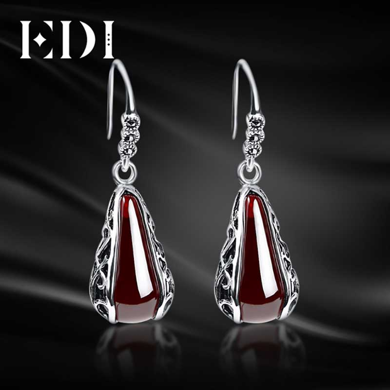 где купить EDI Vintage Women 925 Sterling Thai Silver Dangle Earrings Red Garnet Drop Statement Earrings For Women Wedding Bride Jewelry по лучшей цене