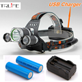 USB Headlamp 10000Lm CREE XML T6+2R5 LED Headlight Lamp Light Torch Camping Fishing+2x18650 Battery+ Charger