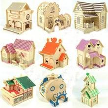 Enigma de madeira 3d puzzle brinquedo de madeira para crianças diy casa modelo de construção Villa handmade mini toy kid educacional enigma criativo