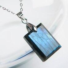 Genuine Natural Blue Light Labradorite Pendant Gemstone Women Men Fashion Rectangle 20x15x6mm Crystal Moonstone AAAA