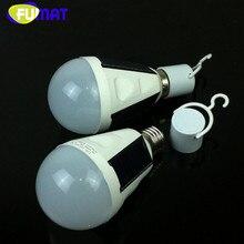 Portable E27 7W 12W LED Light Bulb Solar Charging Emergency Light Globe Bulb Camping Fishing Light 85V-265V LED Solar Lamp