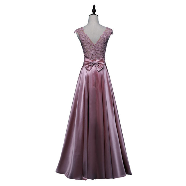 New arrival party evening dresses Long dress Vestido de Festa A-line appliques gown sexy V-opening sexy back