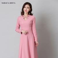 00157a5c38748 Spring Summer Ankle Length Dress Girls High Waist Full Sleeve V Neck Long A  Line Party