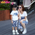 Parent-Child Outfit 2017 Summer Dad & Mom & Daughter Of Three Camouflage Floral Short-Sleeve Suit Family Beach Clothing Set G490