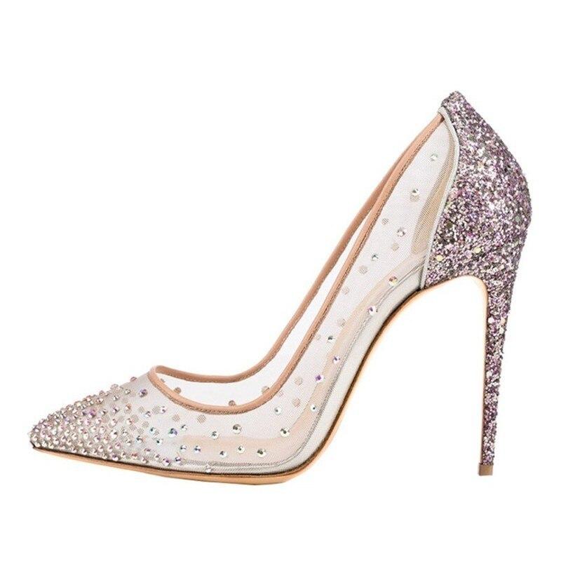 Bombas de malla de calidad superior de cuero genuino para mujer Zapatos de tacón alto de punta estrecha transparente zapatos de boda - 3