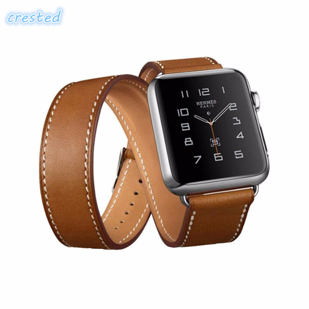 CRESTED leather bracelet strap for apple watch band 42 mm 38 band Double tour Genuine Leather