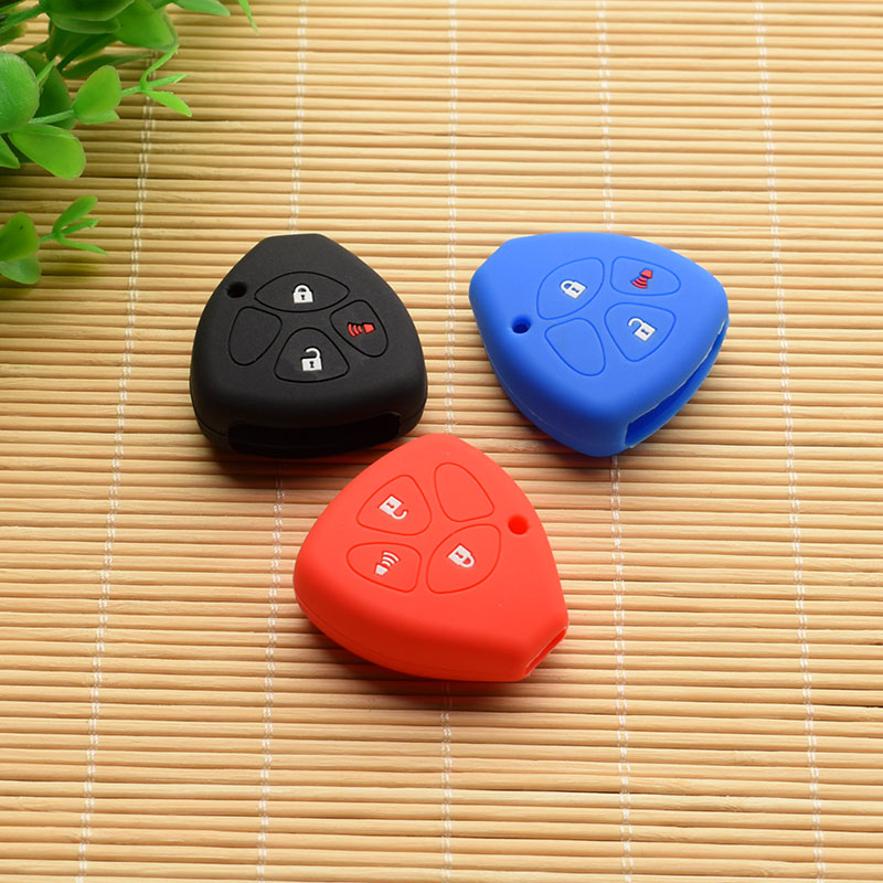 10 units silicone rubber car key cover case For Toyota Camry COROLLA Vios REIZ CROWN RAV4 3 Buttons car key