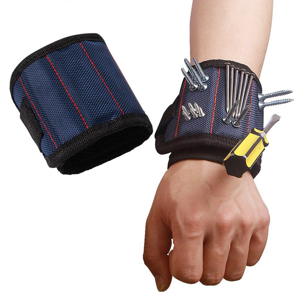 Polyester Super Strong Magnetic Wristband Portable Tool Bag Electrician Wrist Tool Belt Screws Nails Drill Bits Holder 2019 New