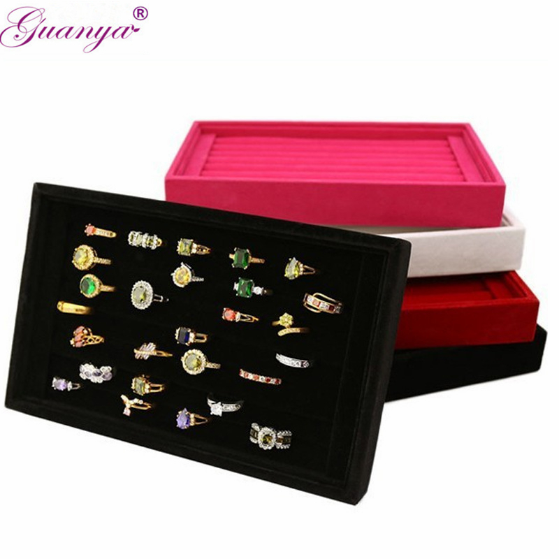 Guanya Suede Velvet Earrings Ring Organizer Ear Studs Jewelry Box Display Stand Holder Rack Showcase 4 Colors 22*14*3cm