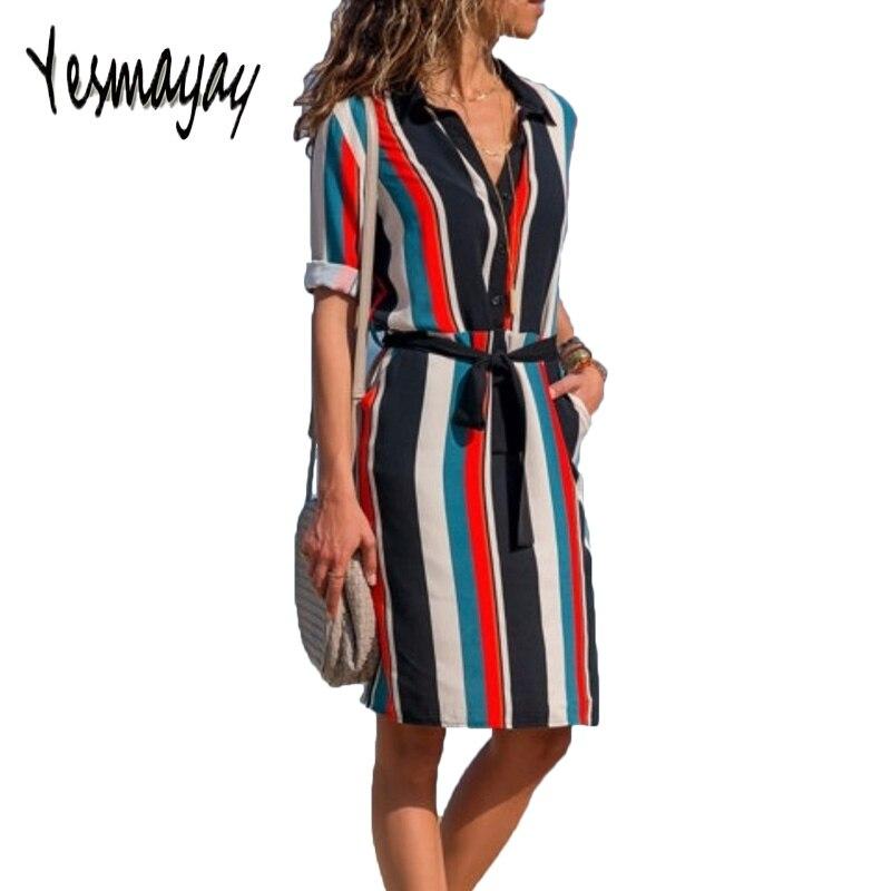 Beach Dress Long Sleeve Women 2018 Casual Striped Print Blouse T Shirt Dress Women Summer Autumn Beach Dress Jurken Dresses