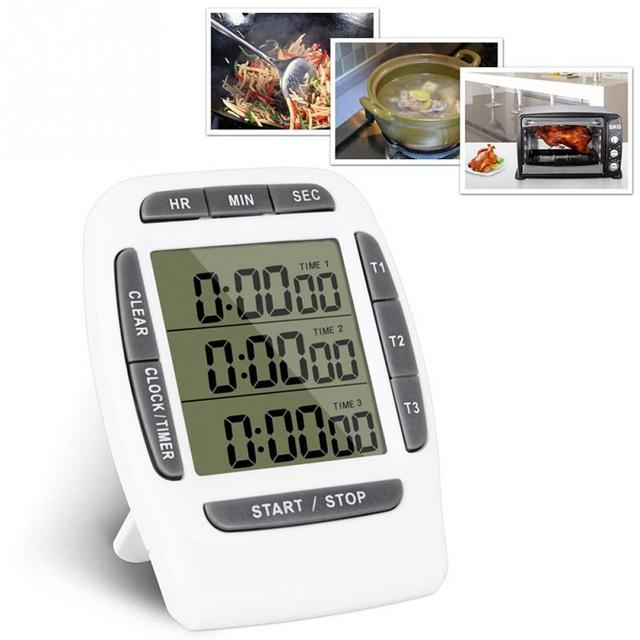 kitchen timers composite countertops lcd multi function digital timer 3 display channel electronic alarm clock count down triple stand back