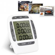 LCD Multi function Digital Timer 3 Display Channel Kitchen Timer Electronic Alarm Clock Count Down Triple Timer Stand Back