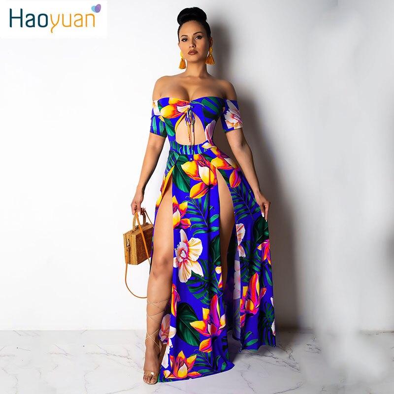 94054a2b8 HAOYUAN Boho impreso verano playa Maxi vestido sin tirantes de hombro Sexy  alta hendidura vestido de ...