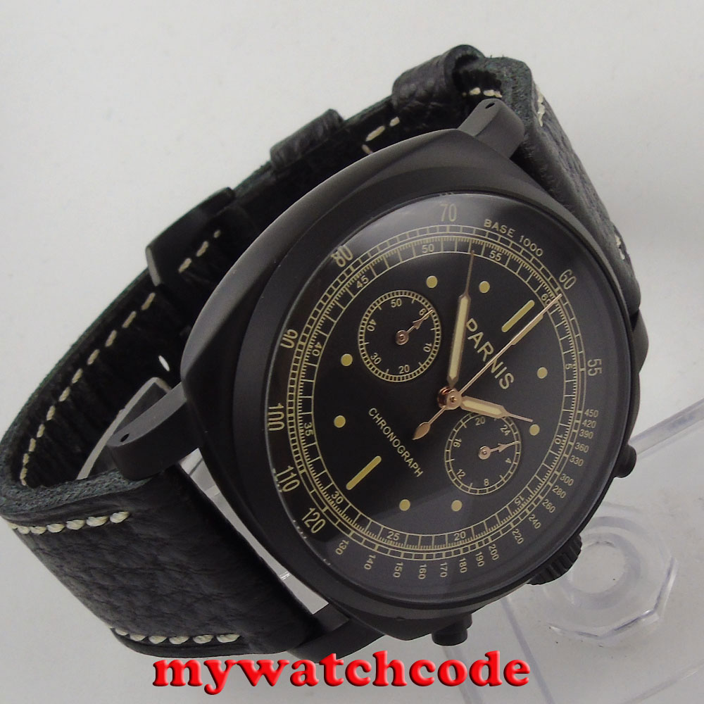 лучшая цена 44mm Parnis black dial PVD coated Chronograph mens quartz wrist watch 544