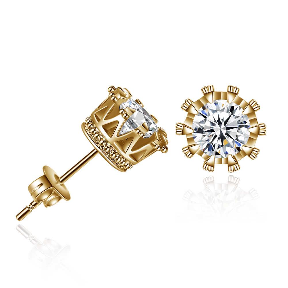 Dovolov mode couronne or couleur boucles d'oreilles pour les femmes CZ cristal bijoux Double mariages déclaration boucle d'oreille en gros D355