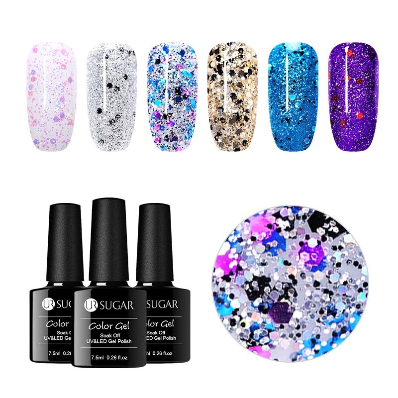 UR SUGAR 7.5ml Soak Off UV Holographic Crystal Gel Polish Laser Sequins Varnish Gel Shining Colorful Manicure Nail Art Lacquer