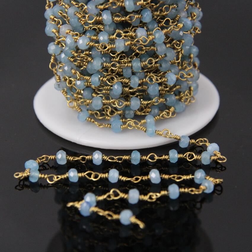3x4mm Aquamarines Color Malaysia Jades Faceted Abacus bead Rosary Chain,Blue Jaspers Rondelle Brass Wire Wrapped Chain