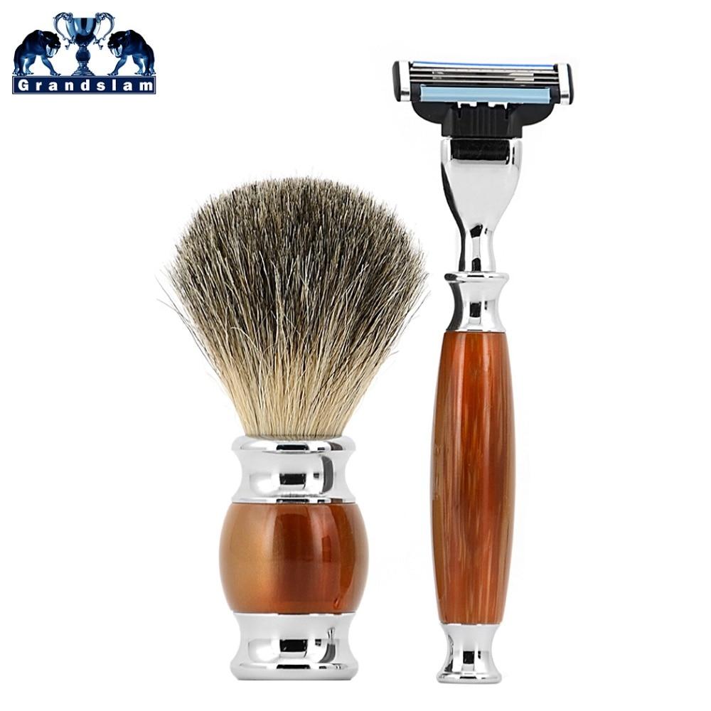 Grandslam Man Shaving Razor Kit Mach3 Razors Refills Safety Razor + Pure Badger Shaving Brush Shave Beard Gift Set verawood wood pure badger shaving brush and de safety razor set