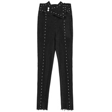 chic womens rivets Jeans Fashion high-waist pencil pants 2019 autumn ninth A433