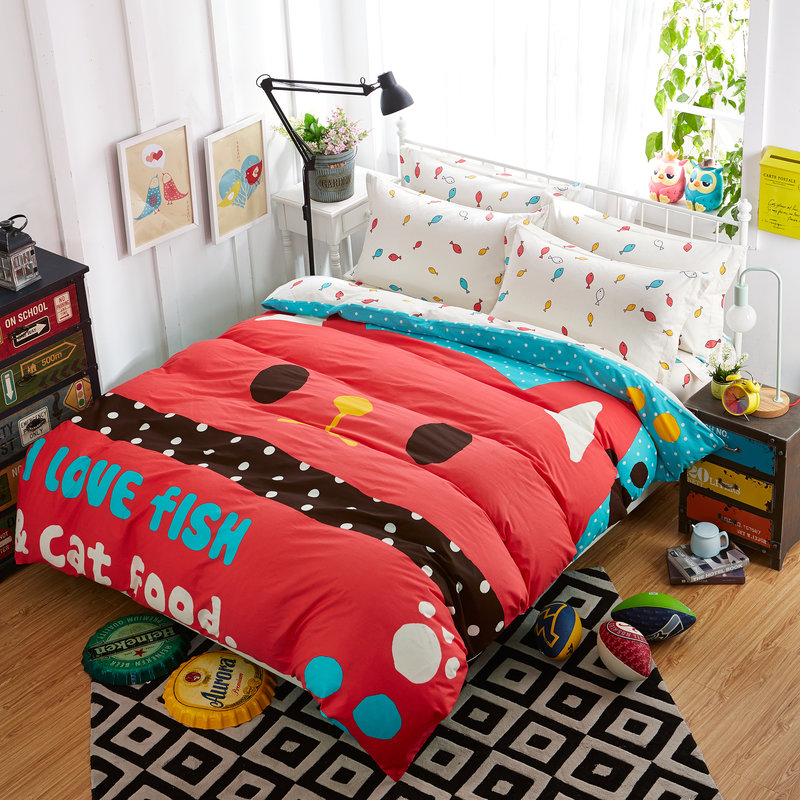 Cartoon style cat fish dots pattern red 3 4pcs bedding for Fish bedding twin