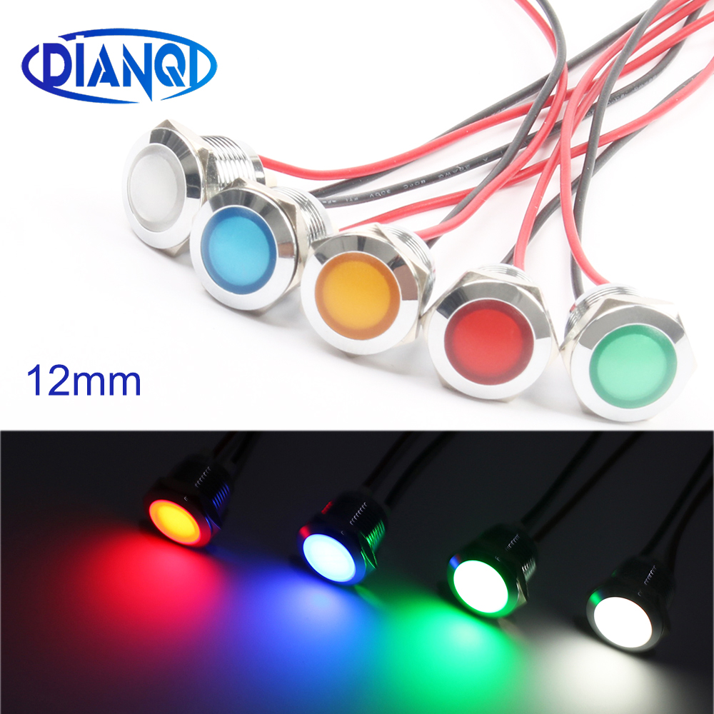 12mm Waterproof Metal Spherical Round Indicat Signal Lamp LIGHT 3V 6V 12V 24V 220V With Wire Red Yellow Blue Green 12ZSD.QX.X