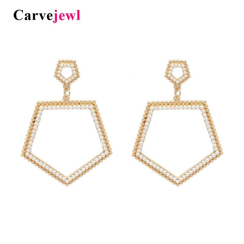 Carvejewl regular pentágono gota dangle brincos brincos jóias simulado de pérolas de cristal strass design minimalista Americano