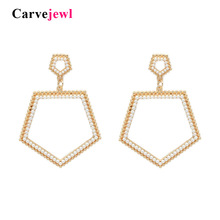Carvejewl regular pentagon drop dangle earrings simulated pearl crystal rhinestone minimalist American design jewelry