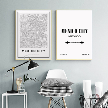 Mexico City Map Prints Art Canvas Painting Posters Travel Black and White Latitude Longitude Wall Art Pictures Home Wall Decor image